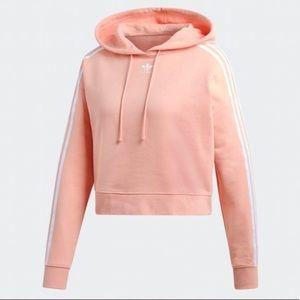 Adidas 3 Stripes Pink Semi Crop Top Sweatshirt L
